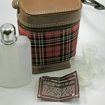 Vintage Travel Bar set Sovereign Flask and shot glasses in a Plaid carrying Case 1950s