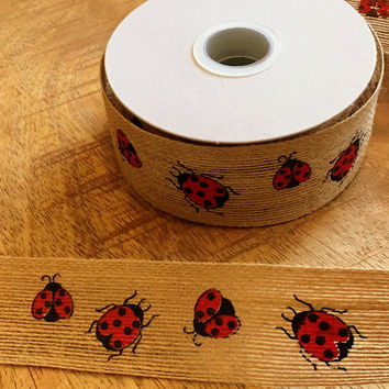 Ladybug Jute Ribbon - Perfect for Spring Crafts or Garden Party - 1.5 Inch Ribbon