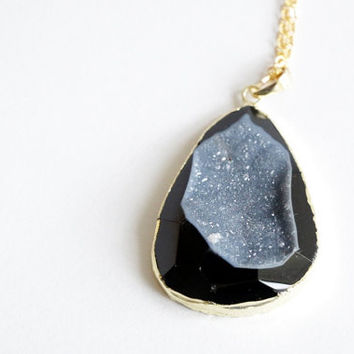 Large Gold Coated Galaxy Black - Grey Agate Geode Slice Raw Necklaces - Natural Stone Gemstone Rough Druzy Crystal Colourful unique, rustic