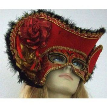 Venetian Mask Masquerade Lady Pirate Hat Red Mardi Gras Costume