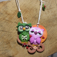 Owls necklace fimo -- Pendant with animals in love in polymer clay // Fimo jewelry