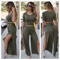 Army Green Cropped T-shirt and High Slit Flared Leg Pants