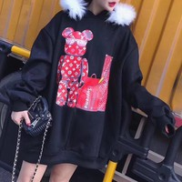 """Louis Vutitton×Supreme"" Women Loose Fashion Casual Cartoon Bear Letter Pattern Print Fur Collar Hooded Long Sleeve Sweater Tops"