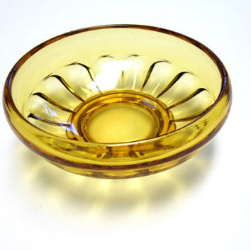 Amber Brown Gold Glass Bowl Dish Serving Candy Nuts