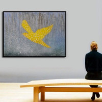 "modern house art - bird in flight - custom order - made to order - palette knife - 47""x39"" - 120x 100 cm"
