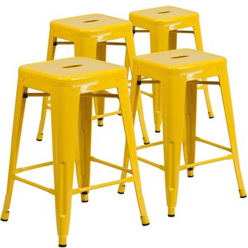 4 Pk. 24'' High Backless Metal Indoor-Outdoor Counter Height Stool with Square Seat