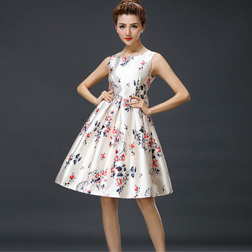White Floral Print Sleeveless Pleated Dress