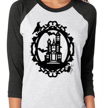 Halloween Haunted House Raglan Shirt - you pick colors