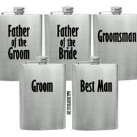 Set of 5 Custom Grooms Party Flasks - Wedding Favors - Grooms Party - Wedding Ceremony - Bachelor Party - Best Man
