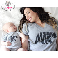 Matching Mother Daughter Clothes Family Look Mommy And Me Clothing Short Mama Bear T-shirt Apparel Shirt Family Matching Clothes