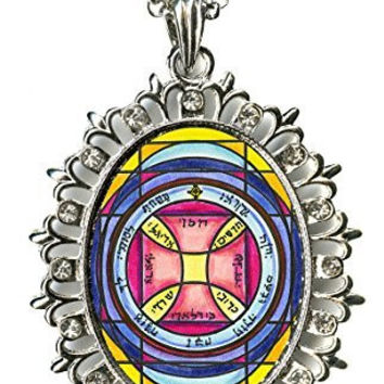 Solomons 7th Sun for Escape From Imprisonment Huge Silver Medallion Rhinestone Pendant
