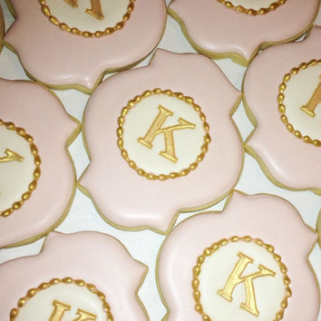 Elegant Pastel Pink, White and Gold Monogram Cookies - One Dozen Decorated Sugar Cookies