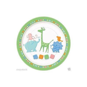 """Unique 9In"""" Zoo Animals Baby Shower Dinner Plates, Multicolor, 8Pk"""