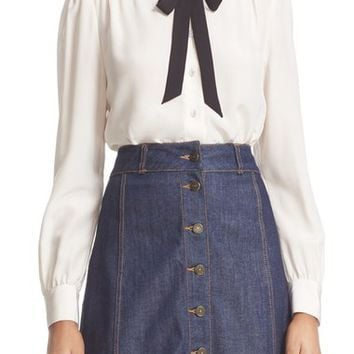 kate spade new york bow tie silk blouse | Nordstrom
