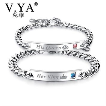 """V.Ya Unique Gift for Lover """"His Queen""""""""Her King """" Couple Bracelets Stainless Steel Bracelets For Women Men Jewelry Drop Shipping"""