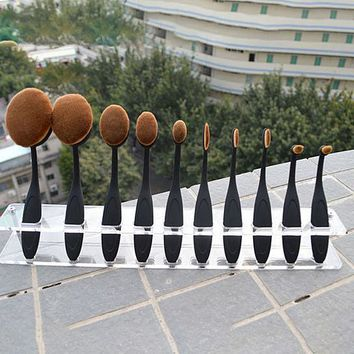 Cool Professional Oval Toothbrush Shaped Makeup Cosmetic Contour Foundation Brush Set Gift