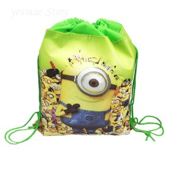 12pcs new minions cartoon Fabric non-woven backpack school travel bag party supplies drawstring bag kids boy mochila gift bags