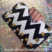 Studded Wallet Clutch - Black & White Chevron Stripe Print - Gold Zipper - Gold Studs
