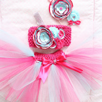 Gorgeous Hot Pink and Aqua Cake Smash Outfit Tutu Set 3 Piece for Baby Girl 6-18 Months First Birthday Pageant Dress