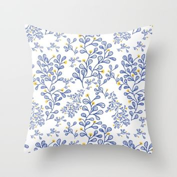 Petite mon amour blue Throw Pillow by Vicky Theologidou