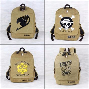 Cool Attack on Titan Japan anime Tokyo Ghoul Fairy Tail   High quality canvas backpack Student bookbag shoulder bag Package 5 style AT_90_11
