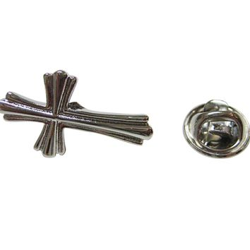 Intricately Detailed Cross Lapel Pin