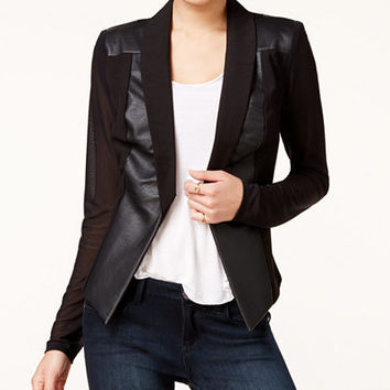 Material Girl Juniors' Faux-Leather Ilusion-Sleeve Blazer, Only at Macy's - Juniors Material Girl - Macy's