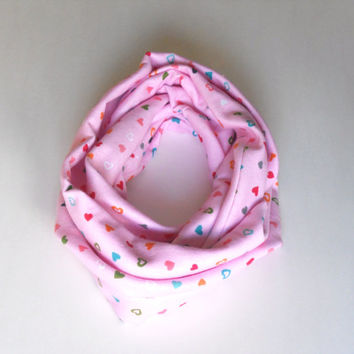 Valentines Day Pink Heart Toddler Infinity Scarf, Child Infinity Scarf, Kid Infinity Scarf, Loop Scarf, Tube Scarf, Circle Scarf