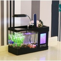 Usb mini aquarium fish tank aquarium fish tank creative eco LED (white)