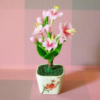 Sakura tree flower pot floral H 11 cm. Tree figure Dollhouse miniture /Mini flower pots/ Miniature flower