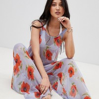 Y.A.S Poppy Printed Beach Jumpsuit at asos.com