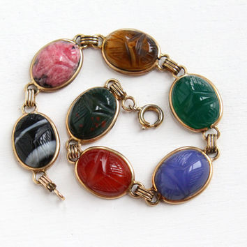 Vintage Yellow Gold Filled Scarab Bracelet - Retro 1960s Oval Carved Beetle Colorful Gem Bloodstone, Tiger's Eye, Egyptian Revival Jewelry