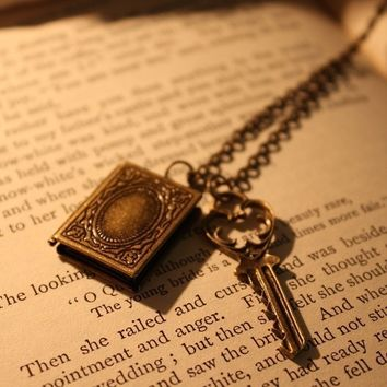ON SALE Book Locket Necklace - The Secret Keeper