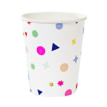 Toot Sweet Charm Pattern Paper Cups by Meri Meri - Rainbow Confetti Party Disposable Table Setting Kids Childrens Birthday Shapes Charms