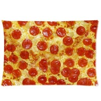 Food Pillow Case - Funny Pizza Rectangle Pillowcase 20x30 inch One Side Pillow Covers