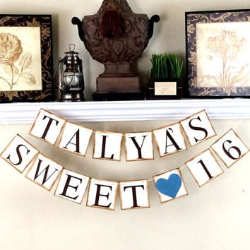 SWEET 16 BANNER / Personalized Birthday Banner / Happy Birthday Banner / Custom Banner