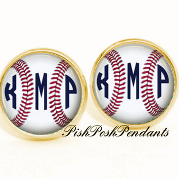 Baseball Monogram Earrings, Monogram Stud Earrings, Monogram Jewelry (507)