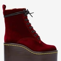 Jeffrey Campbell Commando Velvet Boot - Burgundy