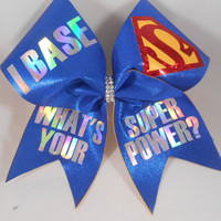 iBase Whats Your SUPERPOWER ?  Cheer Bow by BlingItOnCheerBowz