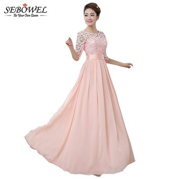 2018 Autumn Winter Women Long Chiffon Dress Half Sleeve Maxi Dresses For Women Formal Wedding Party Lace Dress Bridesmaid Wear