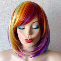 Rainbow wig. Rainbow Color wig.  Pastel color wig. Short bob hair rainbow color wig. Heat Resistant Synthetic wig.