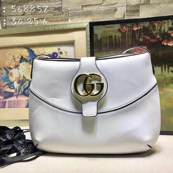 HCXX 1958 Gucci 2019 Shinee GG Magnet Shoulder Canvas Leather Handbag White