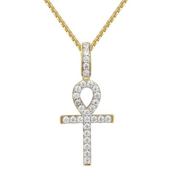 14k Gold Finish Solitaire Ankh Cross Religious Pendant
