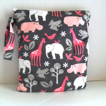 LARGE Wet Bag with Zipper Closure and Snap Handle /   Zoologie Fabric / Diaper Bag / Ready To Ship