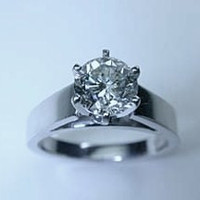 1.07ct Round Diamond Engagement Ring 18kt I-SI2 GIA certified JEWELFORME BLUE