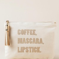 Coffee, mascara, lipstick pouch