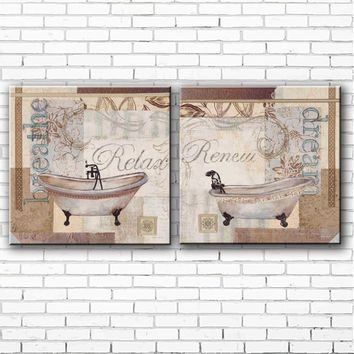 pastoral bathroom bath crock landscpae set oil painting canvas printings printed on canvas home wall art decoration pictures
