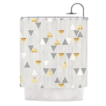 "Nick Atkinson ""Triangle Love"" Gray Gold Shower Curtain"