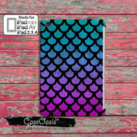 Mermaid Scales Pattern Blue And Purple Watercolor Ombre Cute Tumblr Inspired Ocean Custom iPad Mini, iPad 2/3/4 and iPad Air Case Cover