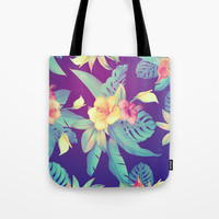 Tropical flowers Tote Bag by printapix